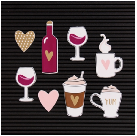 Kit de Ilustrações Coffee/Wine para Letterboard DCWV - 8 unidades