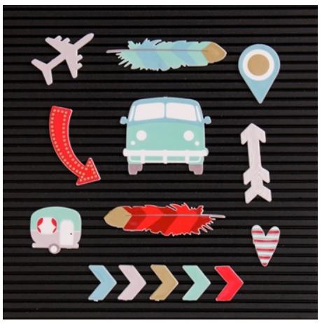 Kit de Ilustrações Travel para Letterboard DCWV - 14 unidades