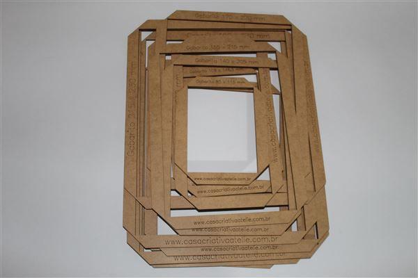 Kit Gabarito MDF tipo moldura - 14 peças - Encadernação e Cartonagem