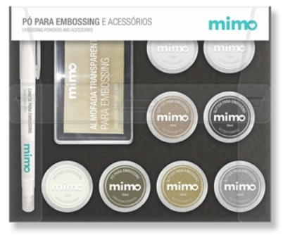 Kit Mimo Pó de Embossing - 8 Cores com Esponja e Caneta