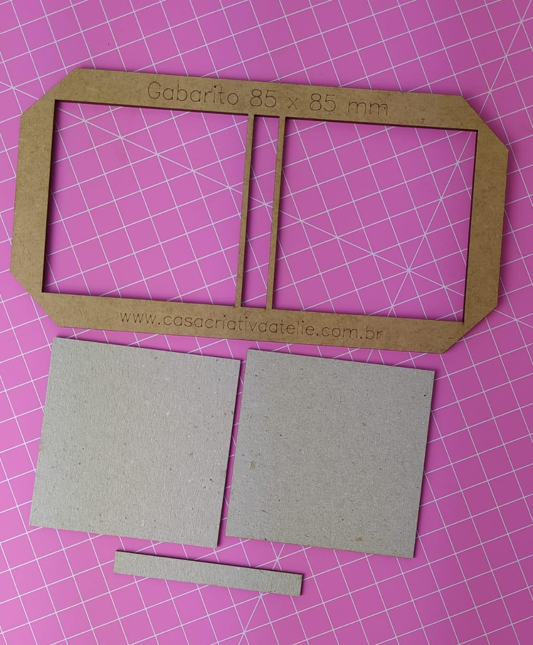 Kit Post it (Gabarito + 12 conjuntos de Papelão Cinza Tipo Holler) - 8,5 x 8,5 cm