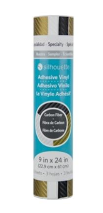 Kit Vinil textura Fibra de Carbono Silhouette - Cores Preto, Branco e Ouro - 03 folhas 22,9 x 61 cm