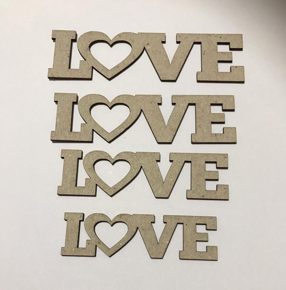 Love 01 - Chipboard - Kit com 4 unidades