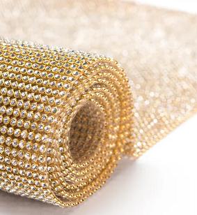 Manta de Strass Ouro com Crystal 120x45cm