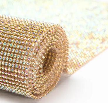 Manta de Strass Ouro com Crystal Irilizado 45cm