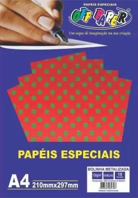 Papel bolinha metalizada tamanho A4 120g c/ 10 folhas - Off Paper