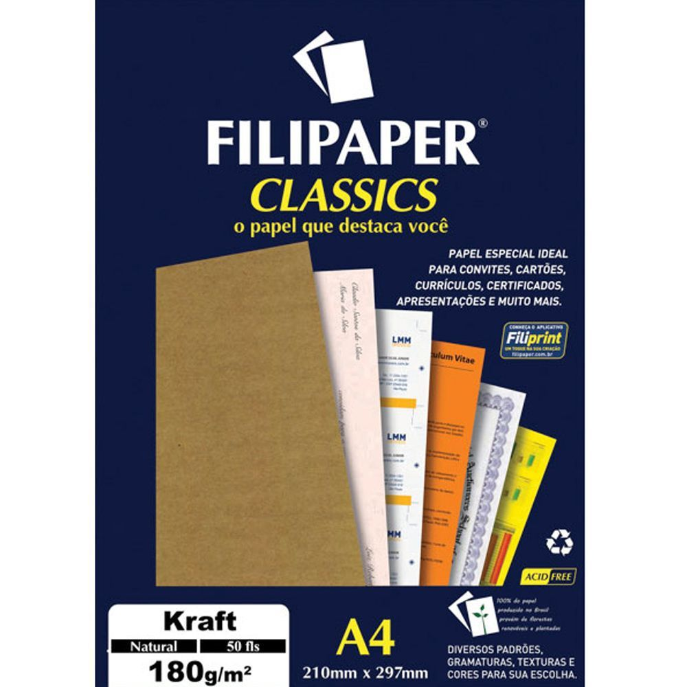 Papel Classics Filipaper Kraft Natural A4 180G 50 Folhas