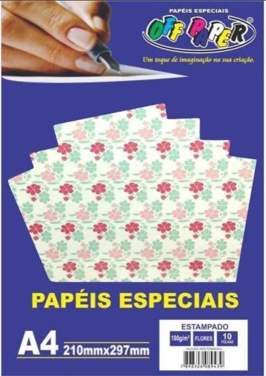 Papel Estampado Flores tamanho A4 180g c/ 10 folhas - Off Paper