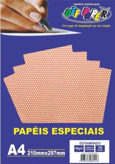 Papel estampado tamanho A4 180g c/ 10 folhas - Off Paper