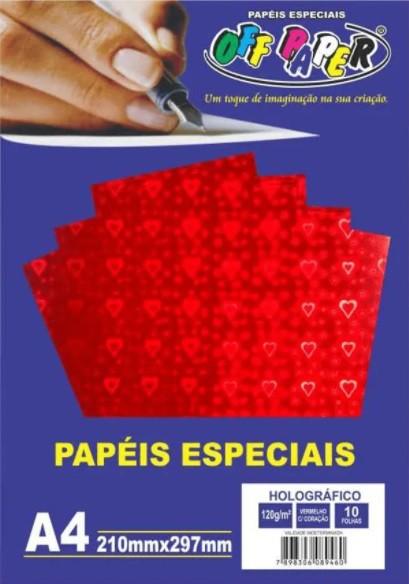 Papel Holográfico A4 120g c/ 10 folhas - Off Paper