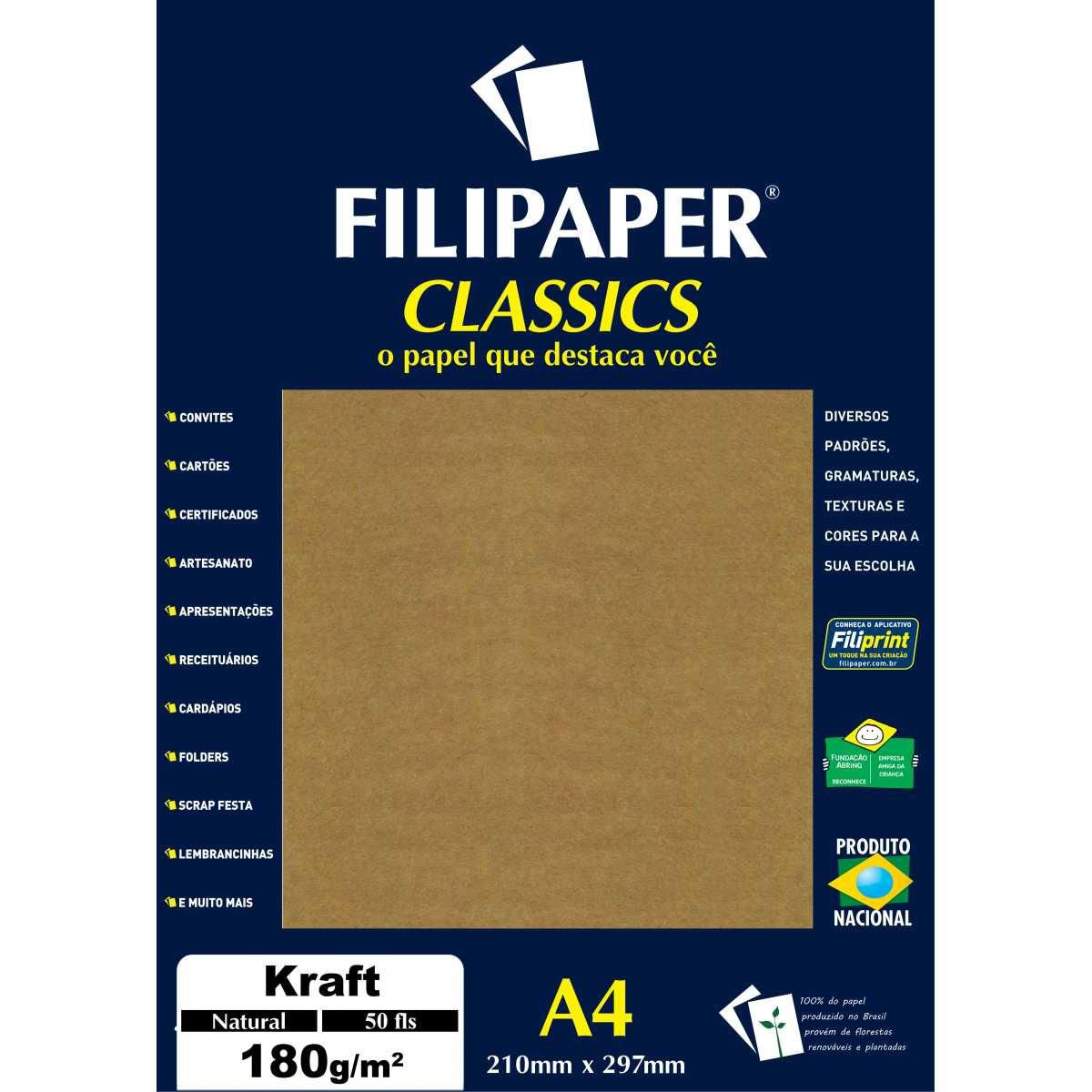 Papel Kraft - Folha Natural - A4 180G - 50 folhas - Filiperson