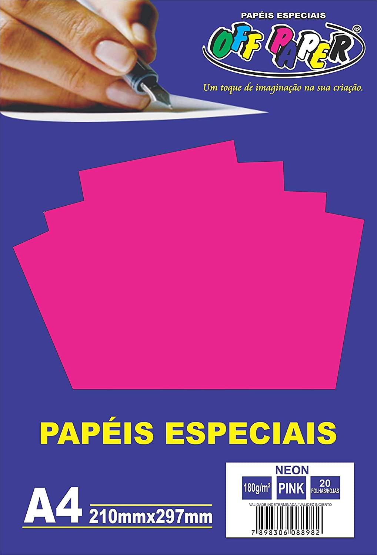 Papel Neon tamanho A4 180g c/ 20 folhas - Off Paper