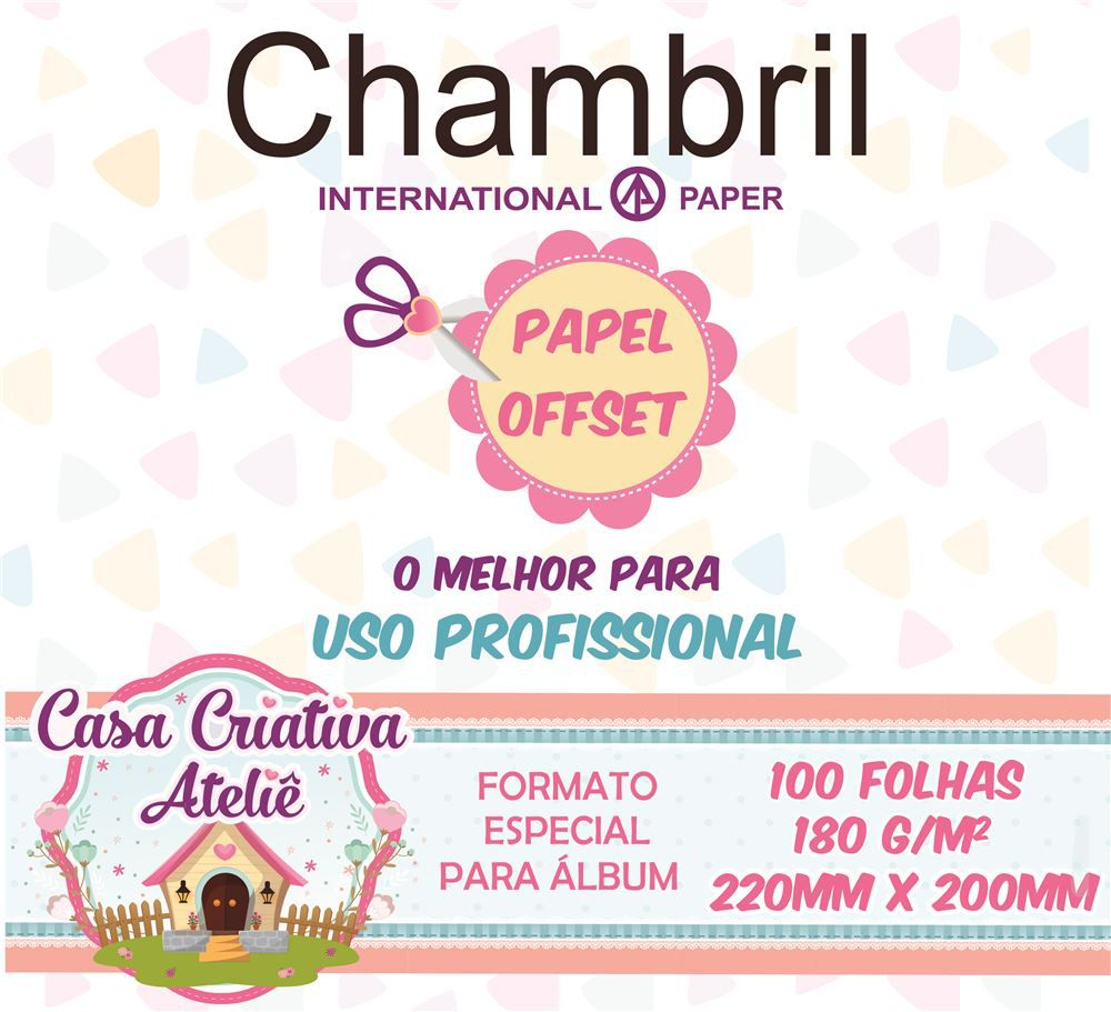 Papel offset chambril 180g/m² - 20x22cm - 100 folhas