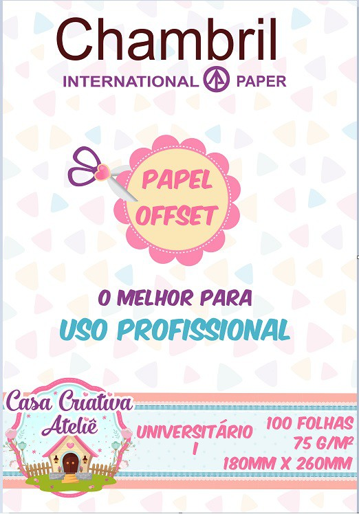 Papel offset Chambril 75g/m² - Universitário 01 180x260mm - 100 folhas