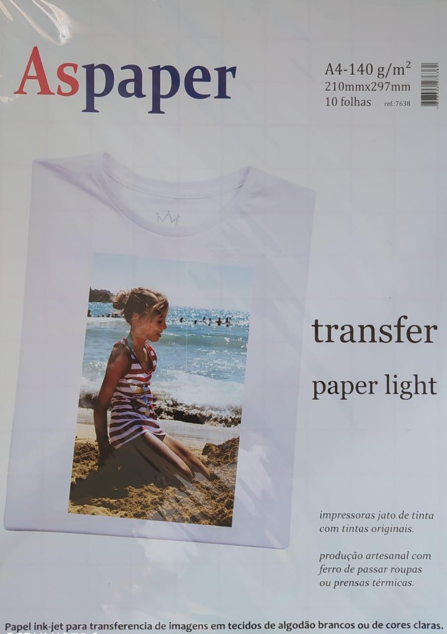 Papel Transfer Para Sublimação A4 140g Aspaper com 10 folhas