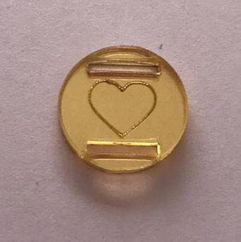 Passante para Elástico - Redondo - 1,5cm - Coração contorno (10 unidades)