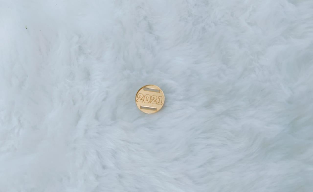 Passante redondo para elástico em acrílico espelhado 1,5cm - 2021 - contorno c/ 10 unidades