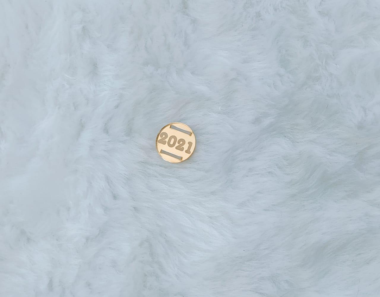 Passante redondo para elástico em acrílico espelhado 1,5cm - 2021 - gravado c/ 10 unidades