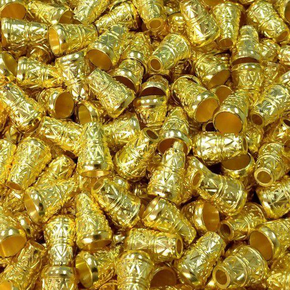 Pé de Caixa - 14mm - Dourado Relevo - 50 unidades