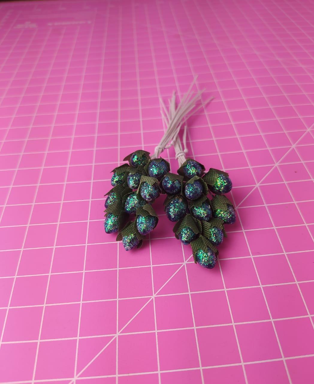 Pistilo Glitter Sépala Verde Musgo c/ 10 unidades