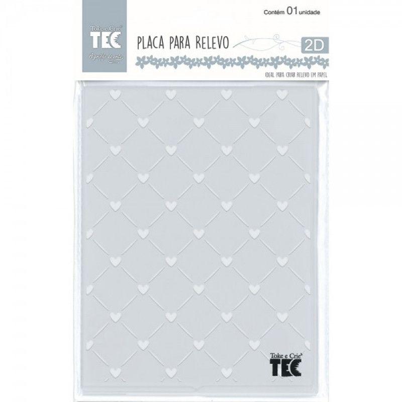 Placa para Relevo 2D Elegance - 107x139mm - Mini Corações - Toke e Crie