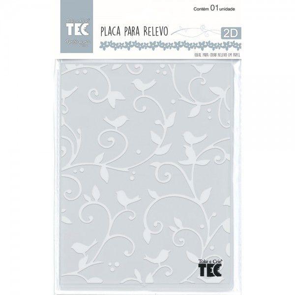 Placa para Relevo 2D Elegance - 107x139mm - Pássaros - Toke e Crie