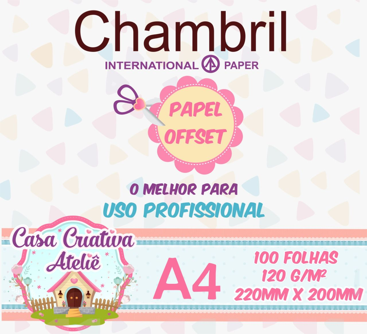 Papel offset chambril 120g/m² - 20x22cm - 100 folhas