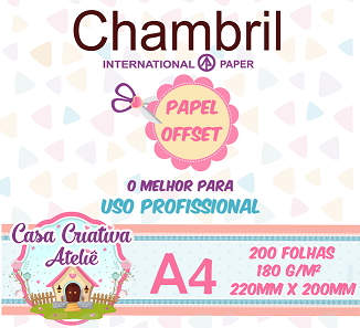 Papel offset chambril 180g/m² - 20x22cm - 200 folhas