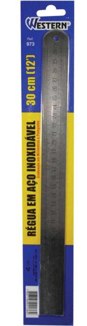 Régua de aço inox - 30cm - Western