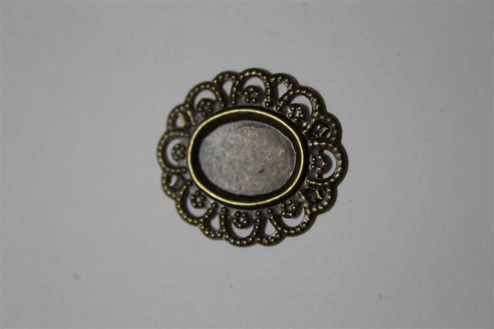 Tag Metal Oval Bronze - 32 X 24mm - C/ 50 Unidades