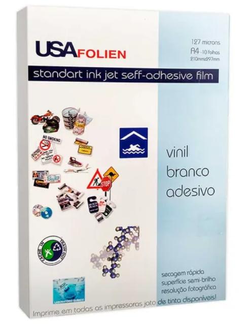 Vinil Branco Inkjet A4 Adesivo 127microns - Pacote com 10 folhas
