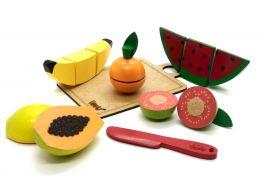 Kit com 5 Frutas para cortar, faca e tábua