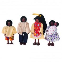 Família Negra Articulada de Madeira