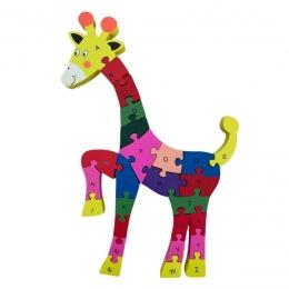 Quebra-Cabeça Números e Alfabeto Girafa