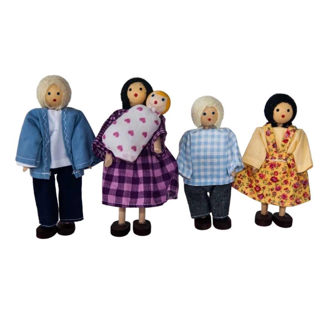 Família Branca Articulada de Madeira