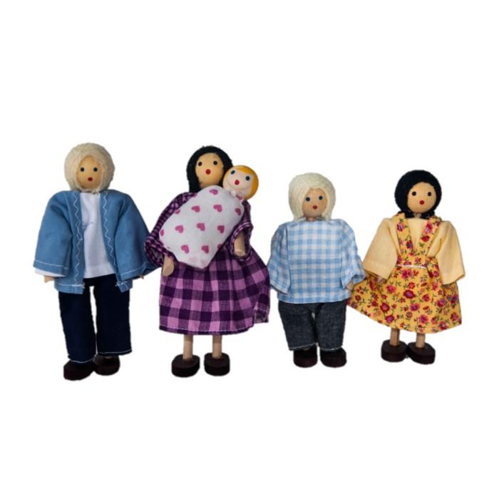 Família Branca Articulada de Madeira com Bebê