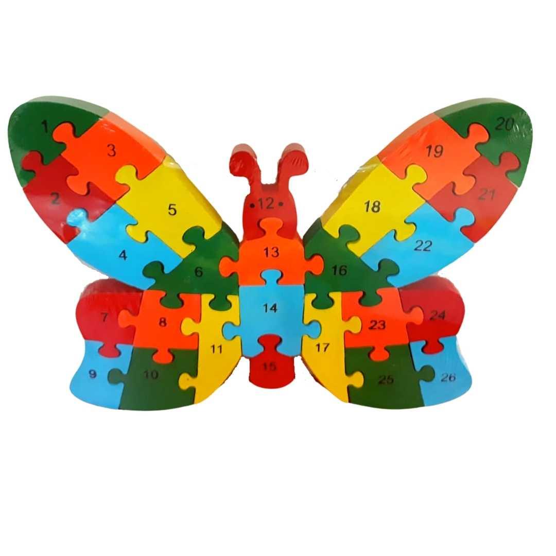 Quebra-Cabeça Números e Alfabeto Borboleta