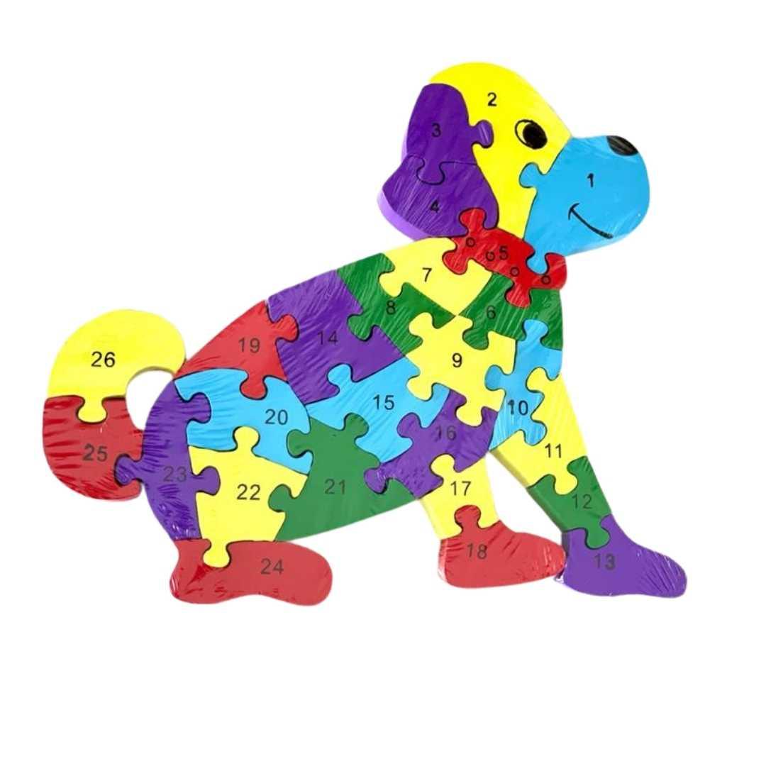 Quebra-Cabeça Números e Alfabeto Cachorro
