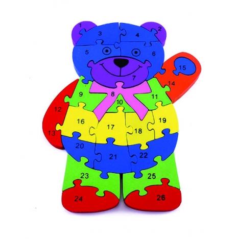 Quebra-Cabeça Números e Alfabeto Urso