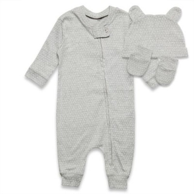 Kit Roupa de Bebê 3 Peças Macacão/Luva/Gorro Estampados POÁ