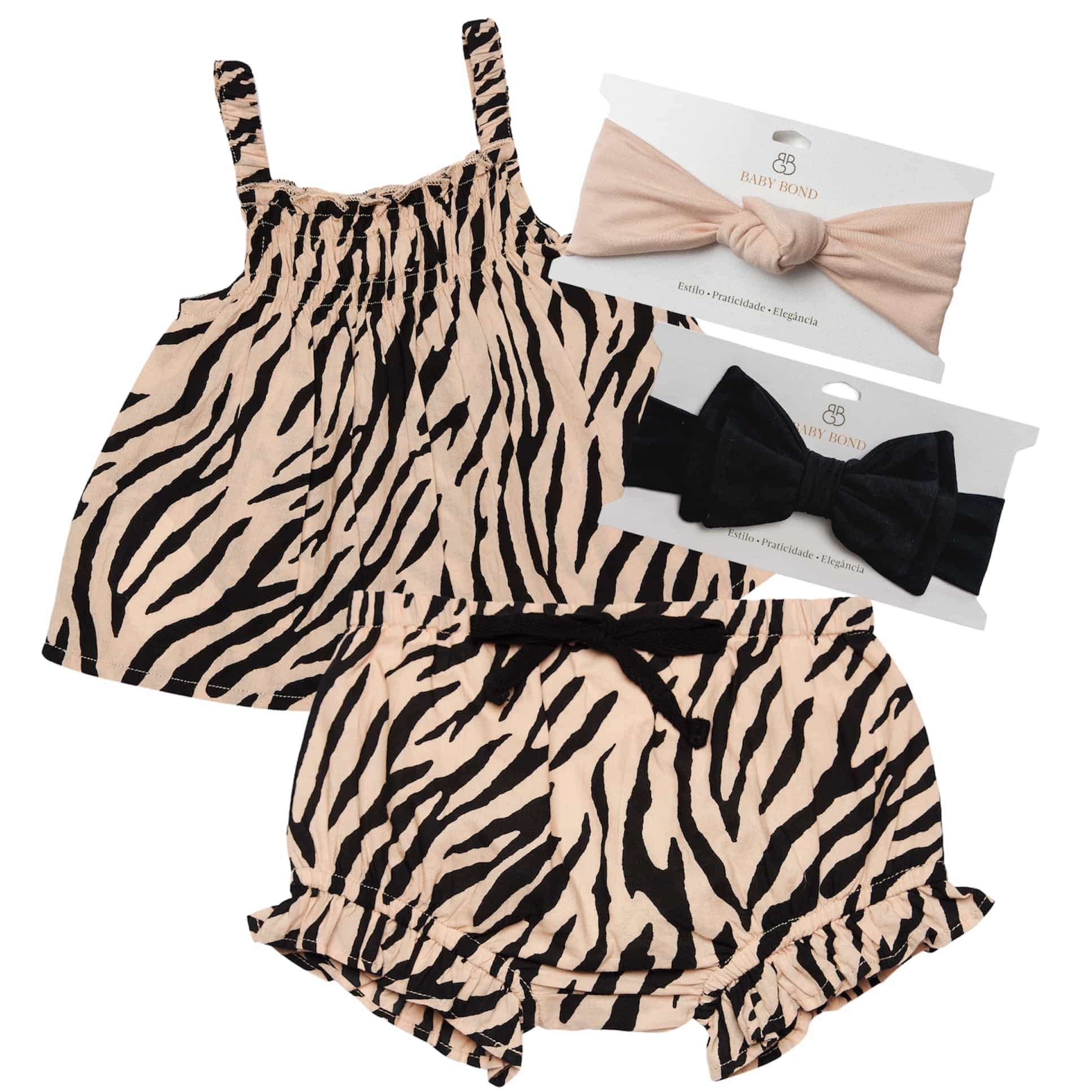 KIT CONJUNTO ANIMAL PRINT + 2 FAIXAS