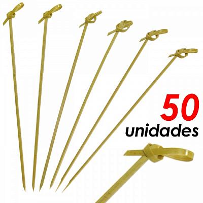 ESPETO DE BAMBU DECORADO COM NÓ 15CM C/ 50UNI