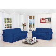 Capa de Sofá Wanda Elasticada para 3 e 2 Lugares Azul