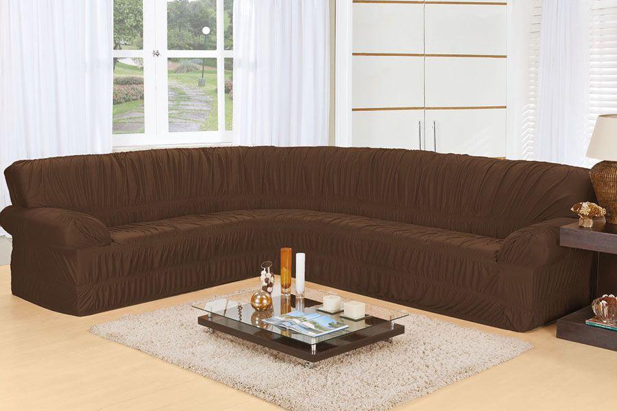 Capa de Sofá de Canto Elasticada para 3 e 2 Lugares Tabaco