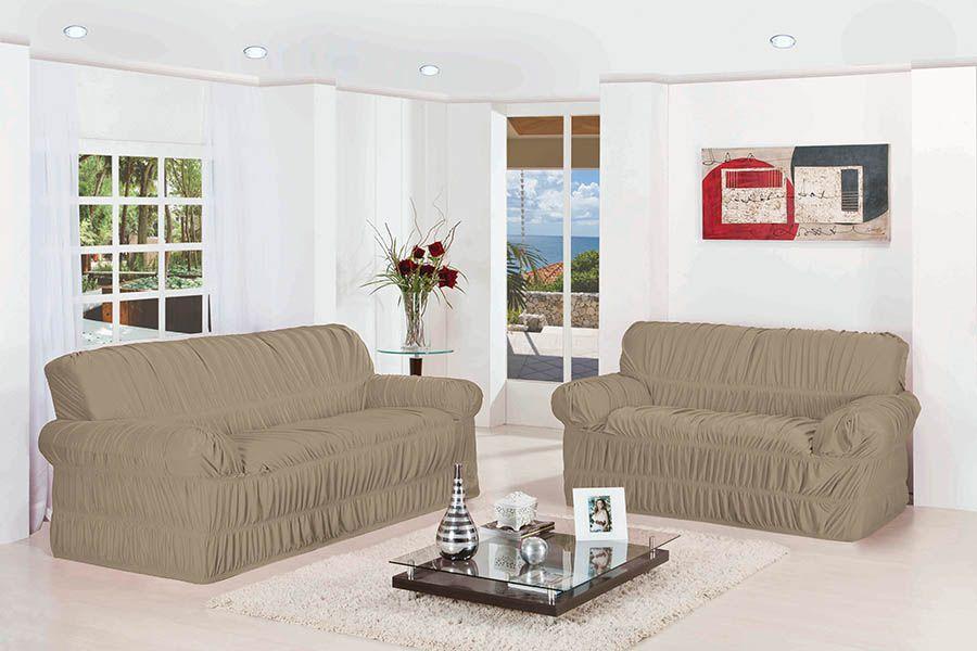 Capa de Sofá Wanda Elasticada para 3 e 2 Lugares Avelã