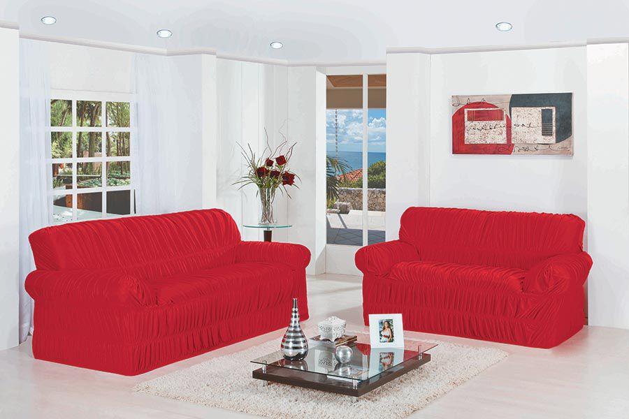 Capa de Sofá Wanda Elasticada para 3 e 2 Lugares Vermelho