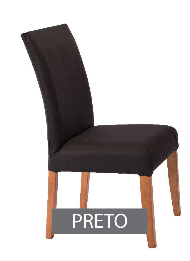 Capa para Cadeira com estofado Kit com 06 Unidades  cor  Preto