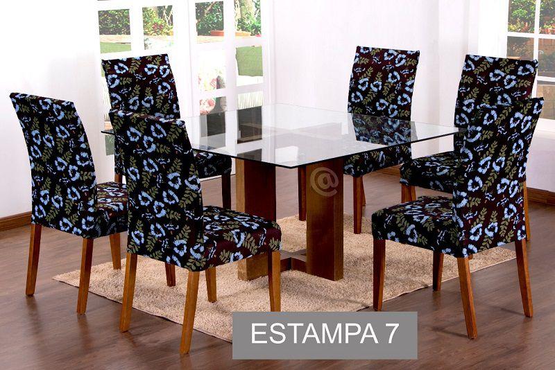 CAPA PARA CADEIRA COM ESTOFADO KIT COM 06 UNIDADES- ESTAMPA 07