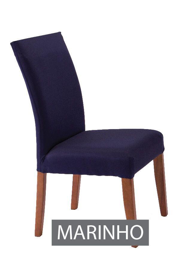 Capa para Cadeira com Estofado- KIt com 4 Unidades  Azul Marinho