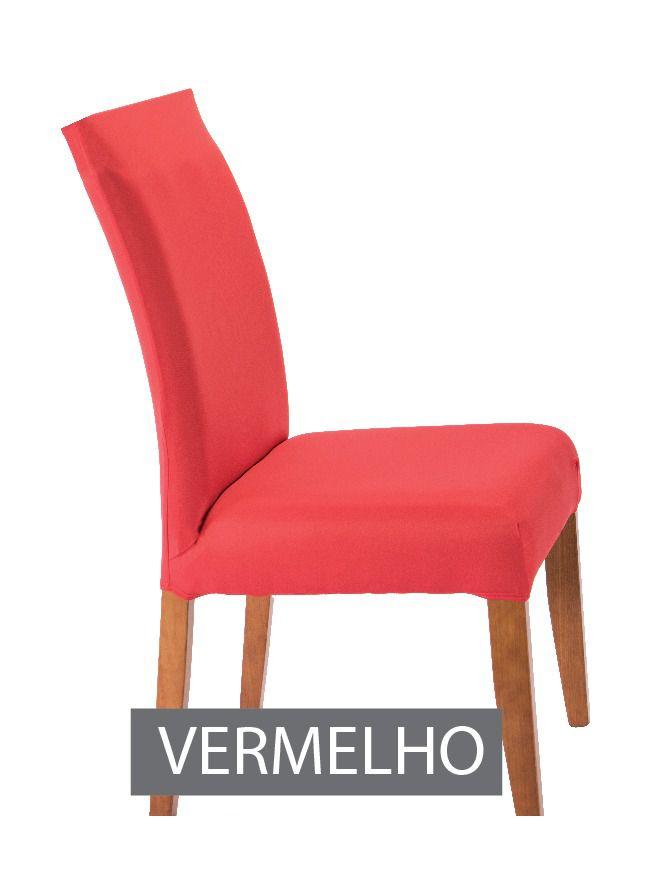 Capa para Cadeira com Estofado- KIt com 4 Unidades  Cor Vermelho